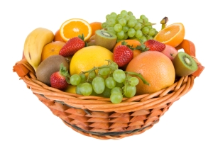 basket with colorful fruits
